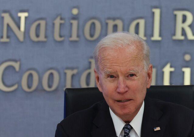 U.S. President Joe Biden speaks visits Federal Emergency Management Agency (FEMA) headquarters to receive a briefing on the Atlantic hurricane season, in Washington, U.S., May 24, 2021.