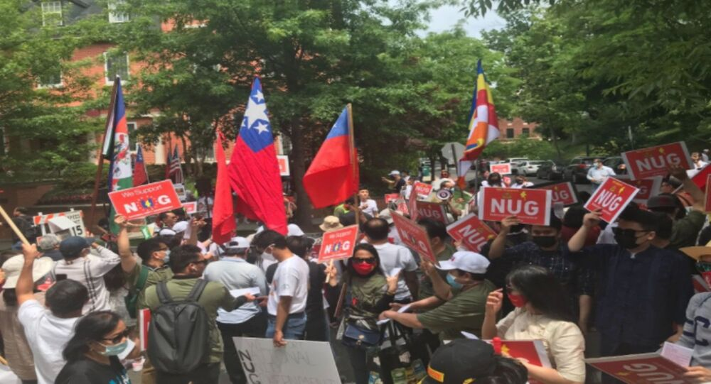 Supporters of the National Unity Government of Myanmar gather outside of Embassy of Myanmar in DC Image/ MariTi Blaise Lovell
