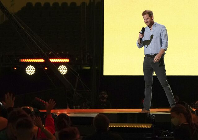 Prince Harry, Duke of Sussex, speaks at Vax Live: The Concert to Reunite the World on Sunday, May 2, 2021, at SoFi Stadium in Inglewood, Calif.