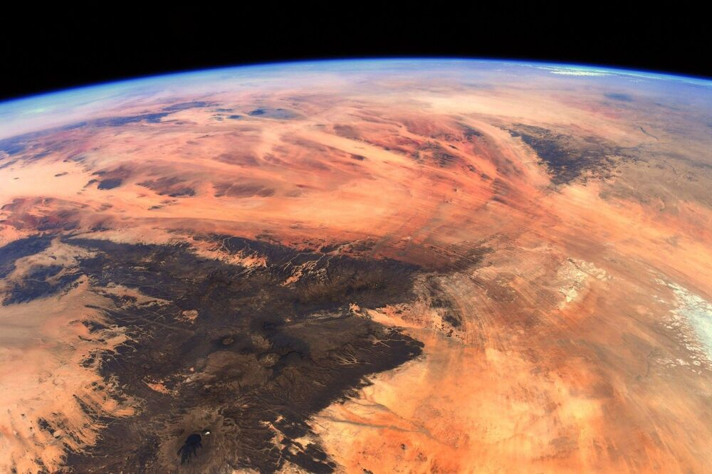 An aerial shot over the Eye of the Sahara, also known as the Richat Structure, which is located in western Africa.