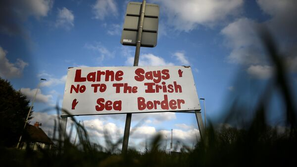 A sign is seen with a message against the Brexit border checks in relation to the Northern Ireland protocol near the harbour in Larne, Northern Ireland, 12 February 2021. - Sputnik International