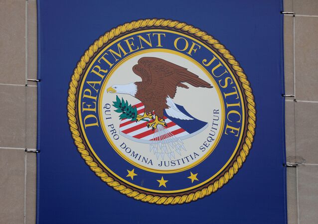 The crest of the United States Department of Justice (DOJ) is seen at their headquarters in Washington, D.C., U.S., May 10, 2021.