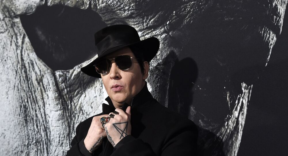 Musical artist Marilyn Manson poses at the premiere of the film Halloween at the TCL Chinese Theatre, Wednesday, Oct. 17, 2018, in Los Angeles.