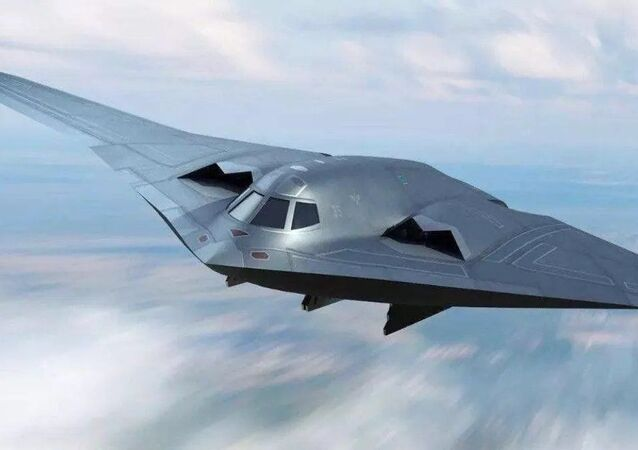 A concept art depicting China's People's Liberation Army's new-generation Xian H-20 stealth bomber