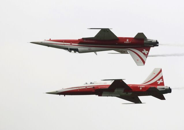 Patrouille Suisse on F-5 Tiger II perform their show during the Airpower 19 airplane show in Zeltweg, Styria, Austria, Friday, Sept. 6, 2019