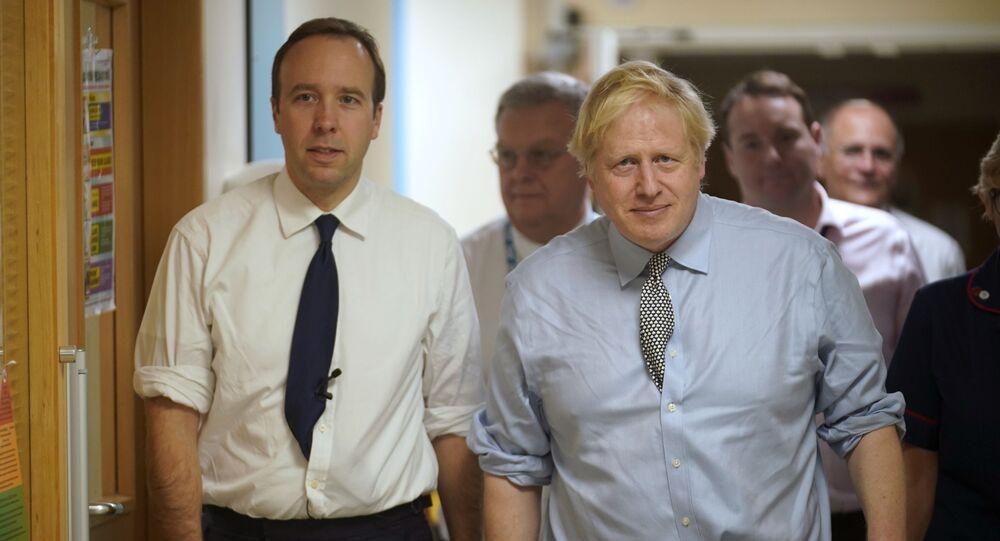Health Secretary Matt Hancock, left, and Prime Minister Boris Johnson visit Bassetlaw District General Hospital, during their General Election campaign in Worksop, Nottinghamshire, England on Friday, 22 November 2019.