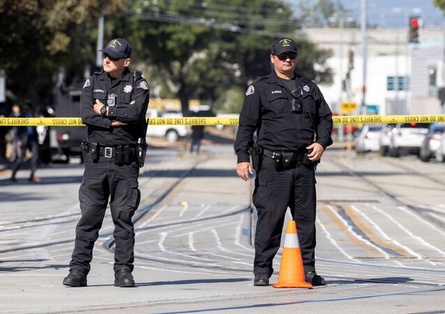 Police secure the scene of a mass shooting at a rail yard run by the Santa Clara Valley Transportation Authority in San Jose, California, U.S. May 26, 2021.