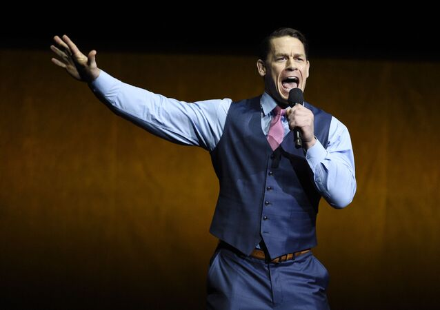 John Cena, a cast member in the upcoming film Playing with Fire, addresses the audience during the Paramount Pictures presentation at CinemaCon 2019, the official convention of the National Association of Theatre Owners (NATO) at Caesars Palace, Thursday, April 4, 2019, in Las Vegas.