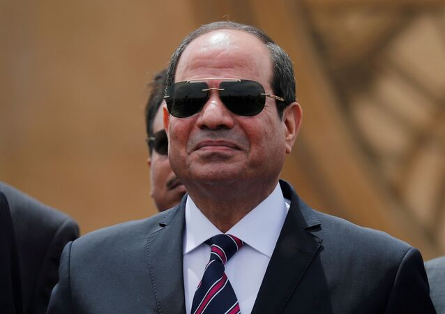 Egyptian President Abdel Fattah al-Sisi attends the opening ceremony of floating bridges and tunnel projects executed under the Suez Canal in Ismailia, Egypt May 5, 2019.