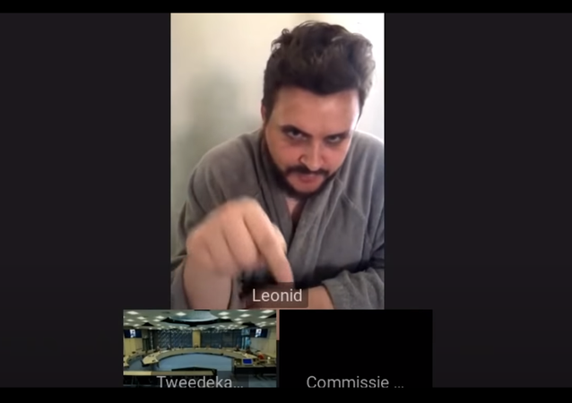 A screenshot from a Youtube video showing Russian pranksters Vovan and Lexus posing as Navalny's ally Leonid Volkov in front of Dutch legislators