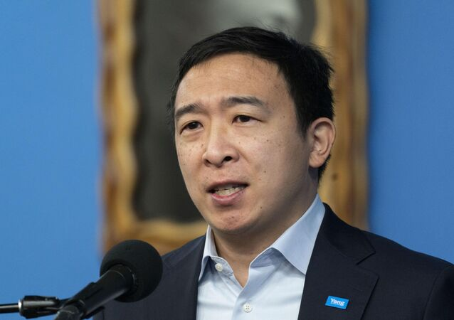 FILE - In this March 18, 2021, file photo, Andrew Yang, a New York City Democratic mayoral candidate, speaks at the National Action Network in New York. Yang has drawn social media scorn after saying his favorite subway station was in tourist-heavy Times Square.