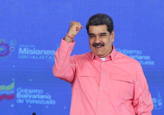 Venezuelan President Nicolas Maduro gestures during an event in Caracas, Venezuela May 14, 2021.