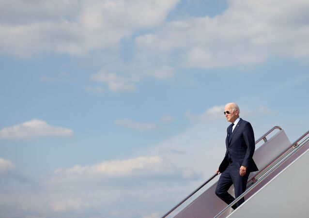 U.S. President Joe Biden disembarks from Air Force One after landing at Joint Base Andrews, Maryland, U.S., May 27, 2021.
