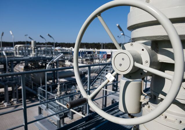 Piping systems and shut-off valves are pictured at the gas receiving station of the Nord Stream Baltic Sea pipeline, in Lubmin, Germany