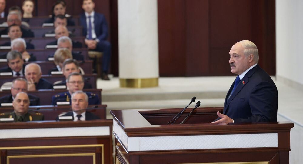 Belarusian President Alexander Lukashenko delivers a speech during a meeting with parliamentarians, members of the Constitutional Commission and representatives of public administration bodies, in Minsk, Belarus May 26, 2021.