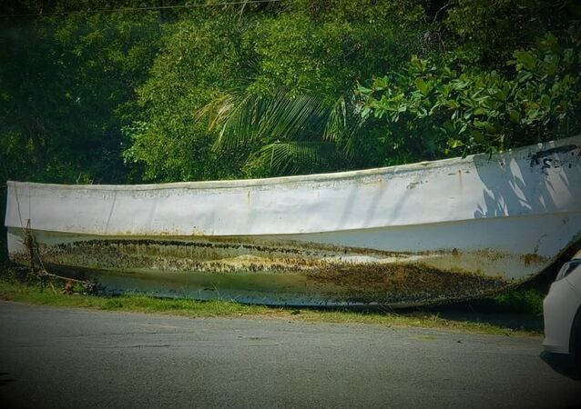 A photo of the unknown foreign boat washed ashore in Trinidad and Tobago on May 28, 2021.