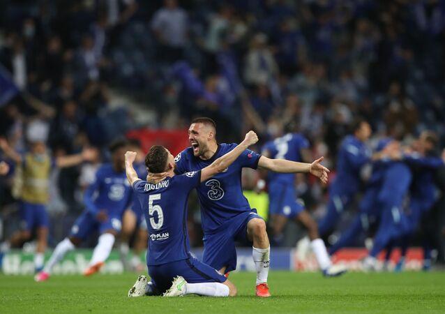 Chelsea's Jorginho and Mateo Kovacic celebrate after winning the Champions League