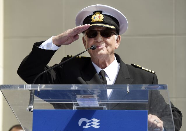 FILE - In this May 10, 2018 file photo, Gavin MacLeod, a cast member on the TV series The Love Boat, salutes the crowd as he speaks at a Friends of Hollywood Walk of Fame honorary star plaque ceremony for the cast and Princess Cruises in Los Angeles.  Gavin MacLeod has died. His nephew told the trade paper Variety that MacLeod died early Saturday, May 29, 2021.