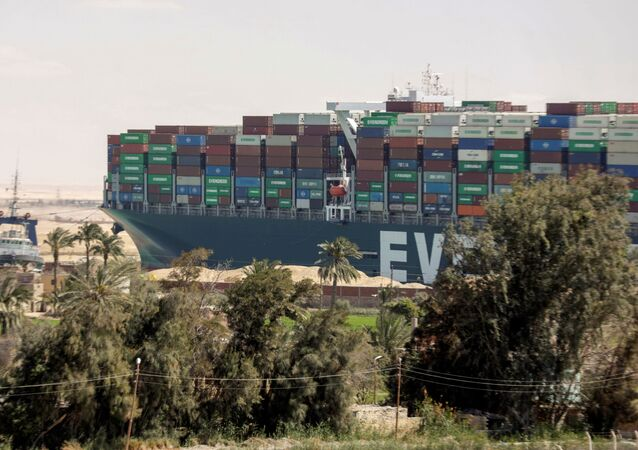 A view shows the ship Ever Given, one of the world's largest container ships, after it was partially refloated, in Suez Canal, Egypt March 29, 2021.