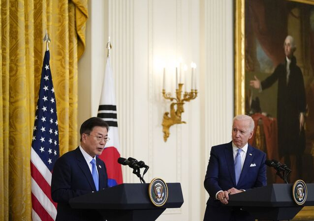 In this May 21, 2021, file photo, President Joe Biden listens as South Korean President Moon Jae-in speaks during a joint news conference in the East Room of the White House, in Washington.