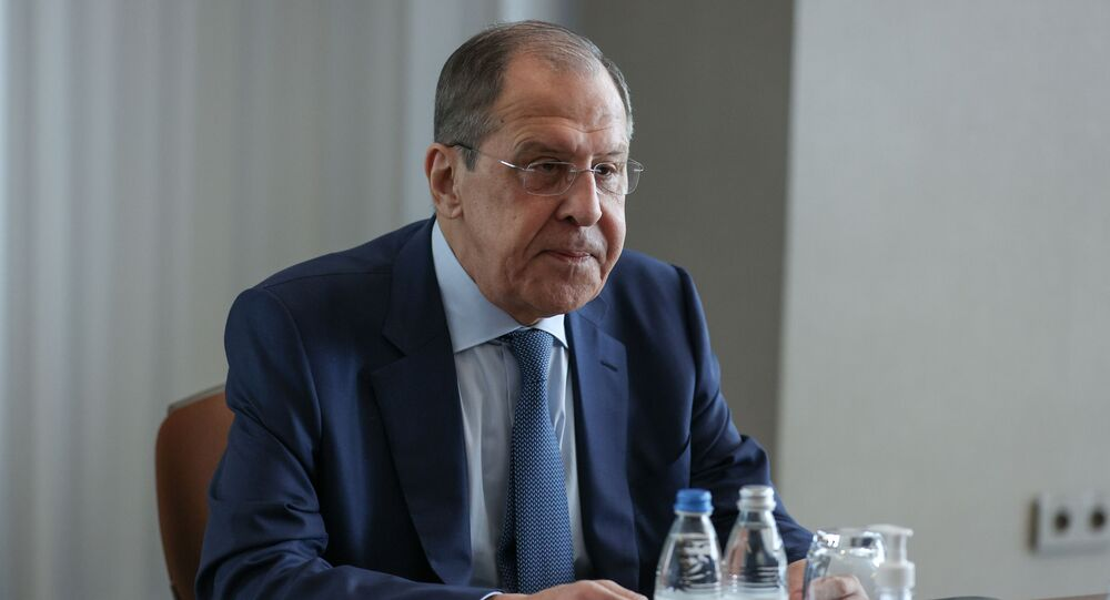 Russian Foreign Minister Sergei Lavrov attends a meeting with his Greek counterpart Nikos Dendias in Sochi, Russia May 24, 2021.