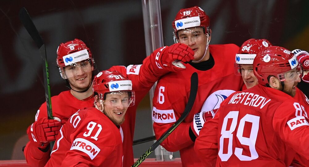 The Russian national ice hockey team during a World Championship match with the Swedish team