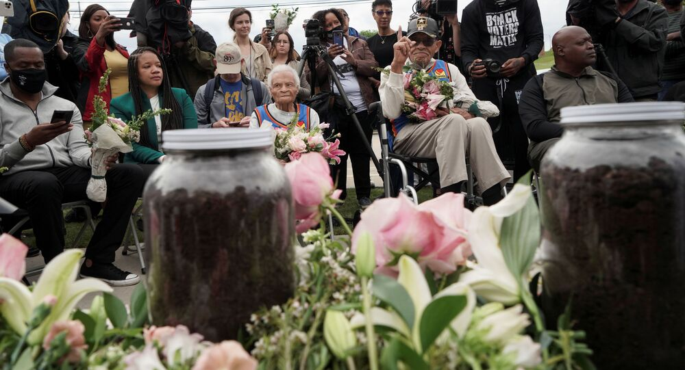 Survivors and siblings Viola Fletcher and Hughes Van Ellis attend the soil dedication at Stone Hill on the 100 year anniversary of the 1921 Tulsa Massacre in Tulsa, Oklahoma, U.S., May 31, 2021