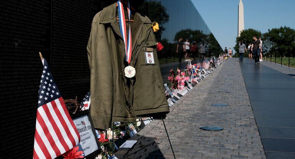 A makeshift memorial is seen in front of the Vietnam Memorial in observance of Memorial Day in Washington, U.S., May 31, 2021.