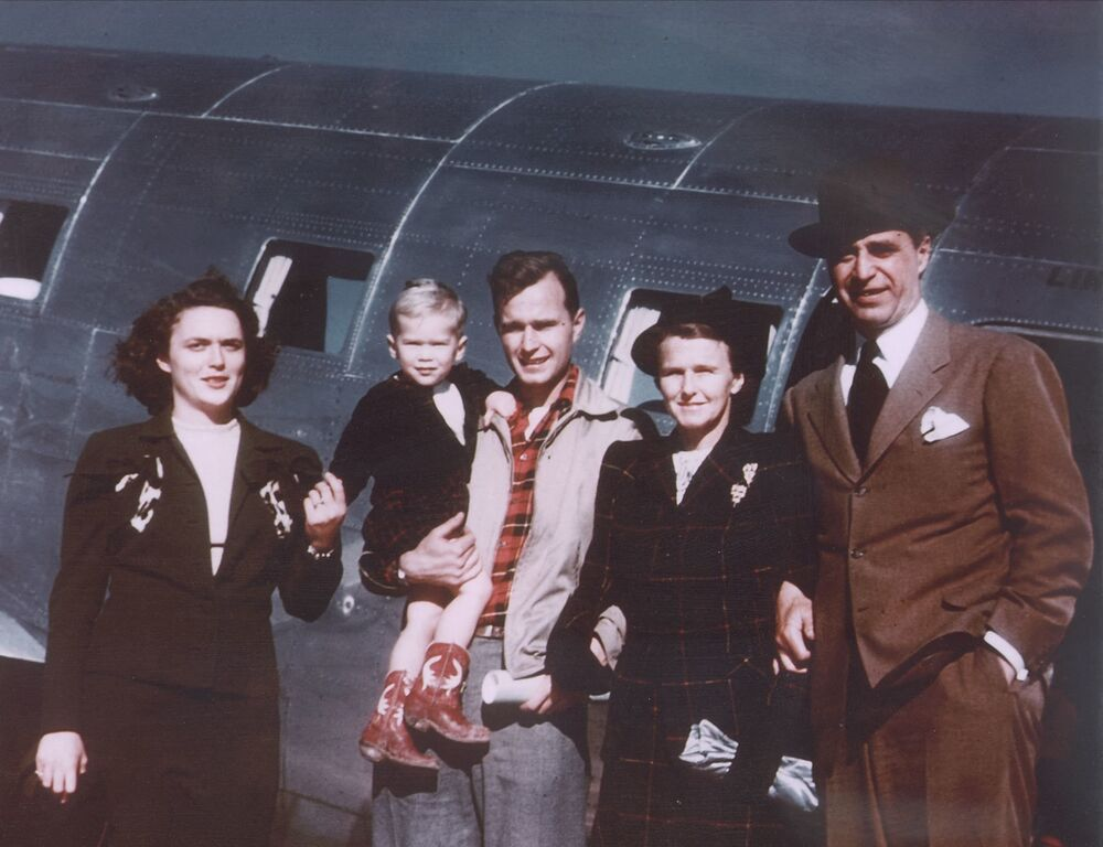 This 1948 photo shows the Bush family in Midland, Texas, posing for a photograph. From left are:  former US First Lady Barbara Bush, future 43rd US president George W. Bush, former US President George Bush, and his parents Dorothy Walker Bush and former US Senator Prescott Bush.
