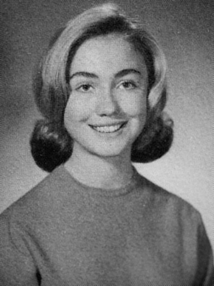 Hillary Clinton in the 1965 edition of the Eyrie yearbook produced by Maine South High School.