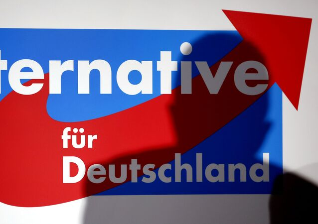The shadow of the founder of the new German party 'Alternative fuer Deutschland' (Alternative for Germany), Bernd Lucke, is seen in on a logo during the party's founding convention in Berlin, Germany, Sunday, April 14, 2013