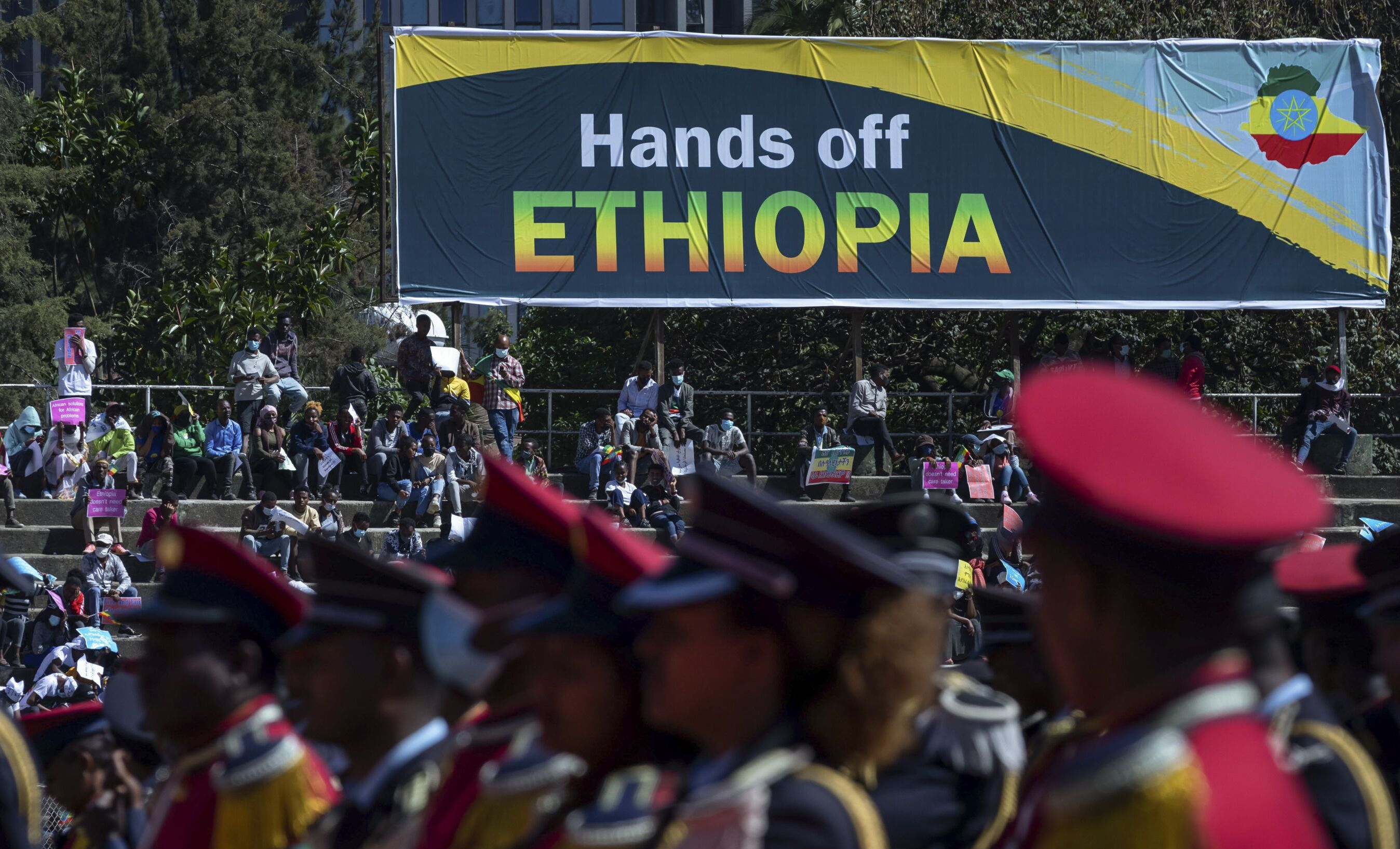 Ethiopians protest against international pressure on the government over the conflict in Tigray on 30 May 2021.