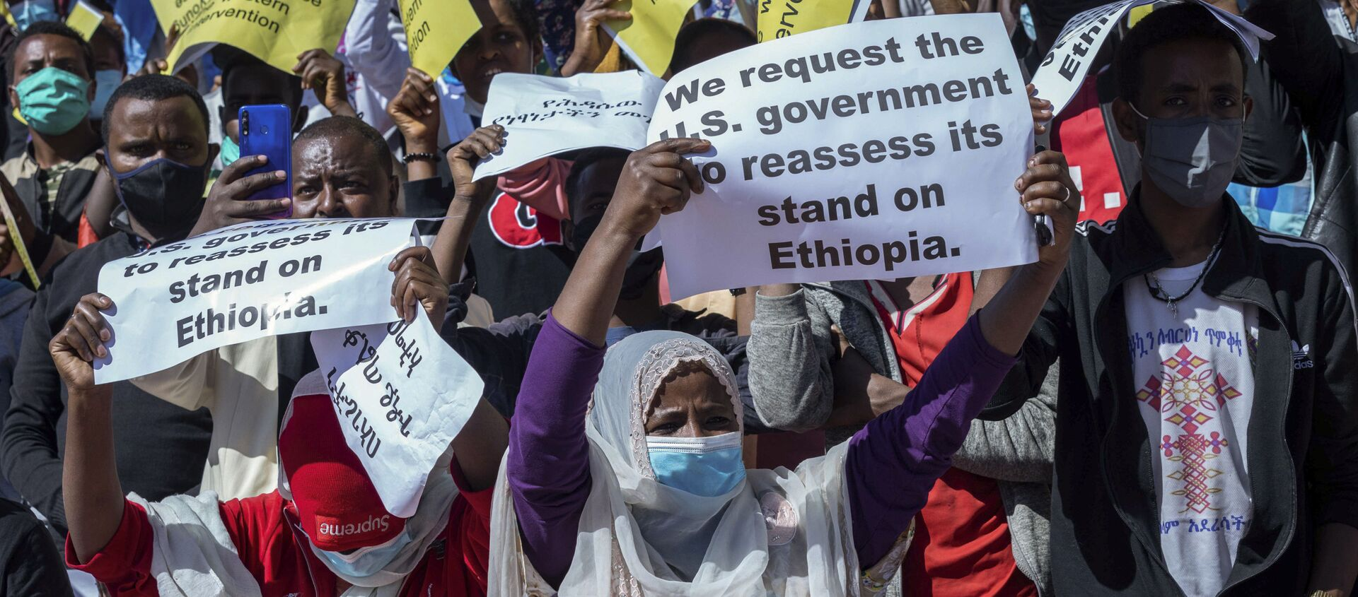 Ethiopians protest against US sanctions on the government over the conflict in Tigray on 30 May 2021. - Sputnik International, 1920, 01.06.2021
