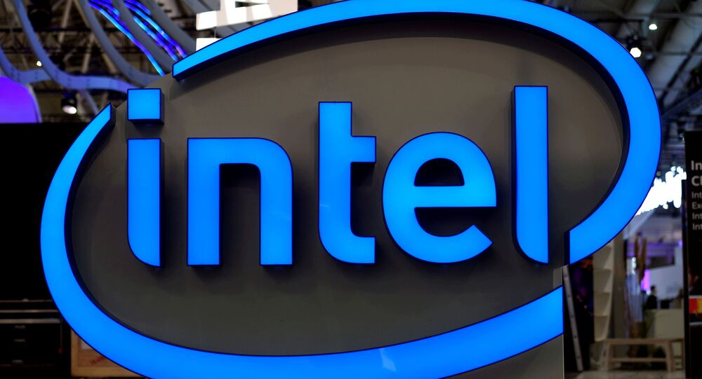 Intel's logo is pictured during preparations at the CeBit computer fair, which will open its doors to the public on March 20, at the fairground in Hanover, Germany, March 19, 2017