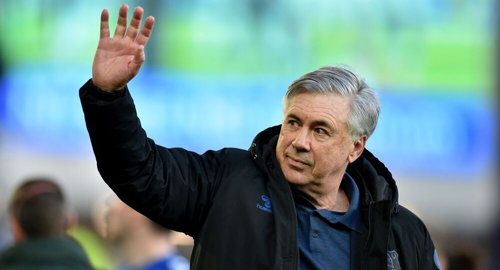 Soccer Football - Premier League - Everton v Wolverhampton Wanderers - Goodison Park, Liverpool, Britain - May 19, 2021 Everton manager Carlo Ancelotti waves to fans during a lap of appreciation after the match