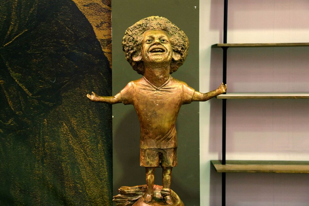 A statue of Liverpool's Egyptian forward Mohamed Salah is on display at the World Youth Forum in Sharm El Sheikh, on 5 November 2018.