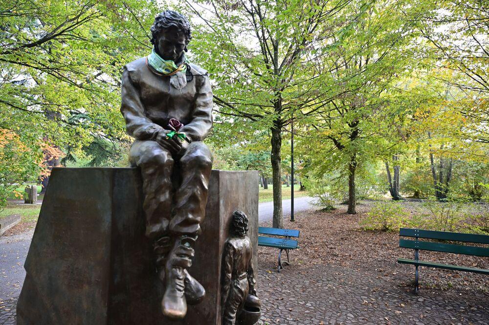 Monument to Brazilian racing driver Ayrton Senna in Imola, Italy.