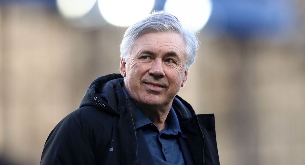 Soccer Football - Premier League - Everton v Wolverhampton Wanderers - Goodison Park, Liverpool, Britain - May 19, 2021 Everton manager Carlo Ancelotti during a lap of appreciation after the match, as a limited number of fans are permitted at outdoor sports venues