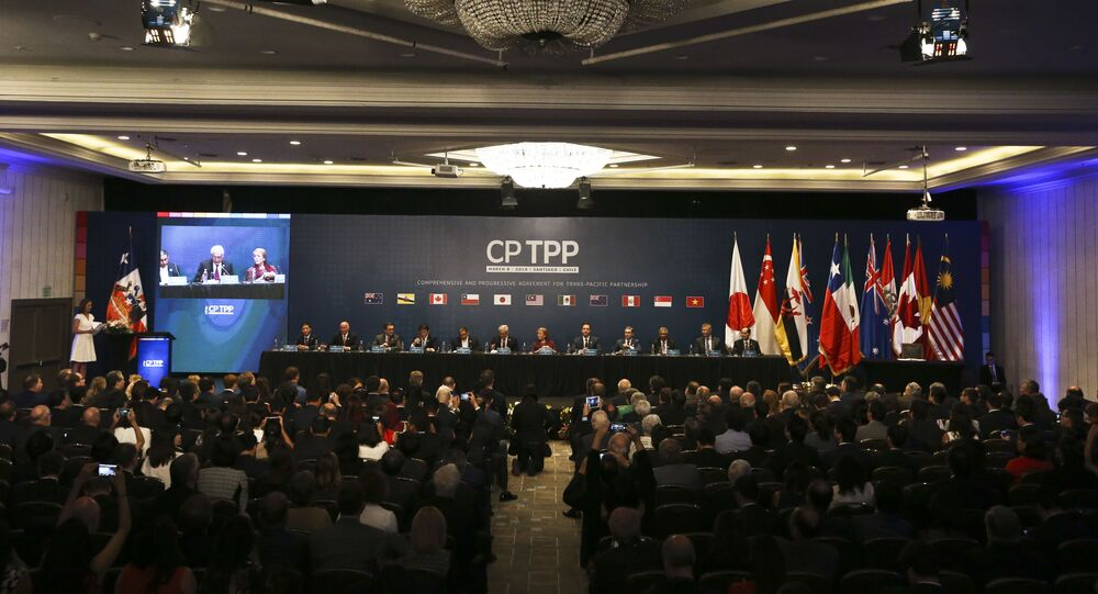 Chile's President Michelle Bachelet and representatives of the eleven countries take part in the signing ceremony agree the Comprehensive and Progressive Agreement for Trans-Pacific Partnership, CP TPP, in Santiago, Chile, Thursday, March 8, 2018