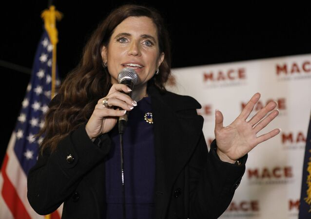 In this Nov. 3, 2020, file photo, Republican Nancy Mace talks to supporters during her election night party in Mount Pleasant, S.C.