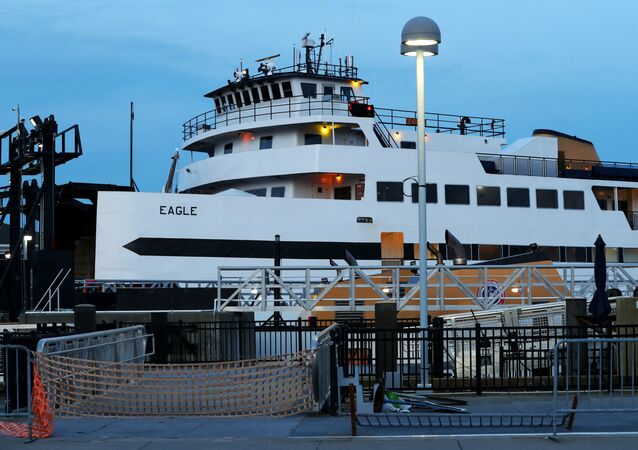 A view of a Steamship Authority ferry in the Hyannis Cruise Terminal on April 25, 2020 in Hyannis, Massachusetts.