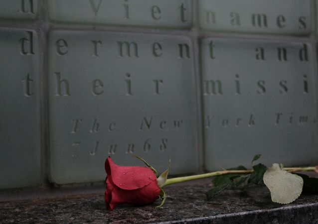 A rose lies on the ground at the Vietnam War Memorial in Manhattan on Veterans Day on November 11, 2020 in New York City. The annual parade in New York, which draws thousands of veterans and spectators from around the country and world, was held as a virtual event this year due to COVID-19. Despite the pandemic restrictions, veterans found numerous ways to honor those that served their country in the armed forces.