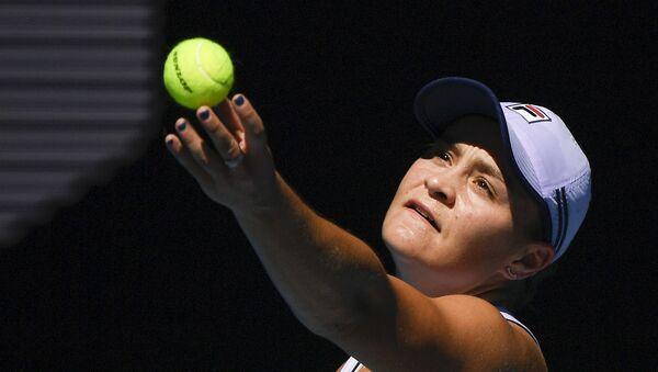 Australia's Ash Barty serves to Karolina Muchova of the Czech Republic during their quarterfinal match at the Australian Open tennis championship in Melbourne, Australia - Sputnik International