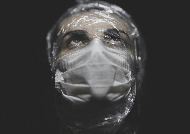 Portrait of a woman wearing mask