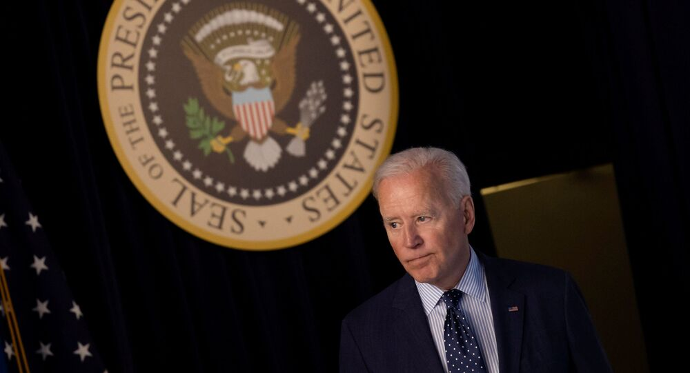 U.S. President Joe Biden departs after delivering an update on his administration's coronavirus disease (COVID-19) response in the Eisenhower Executive Office Building's South Court Auditorium at the White House in Washington, U.S., June 2, 2021.