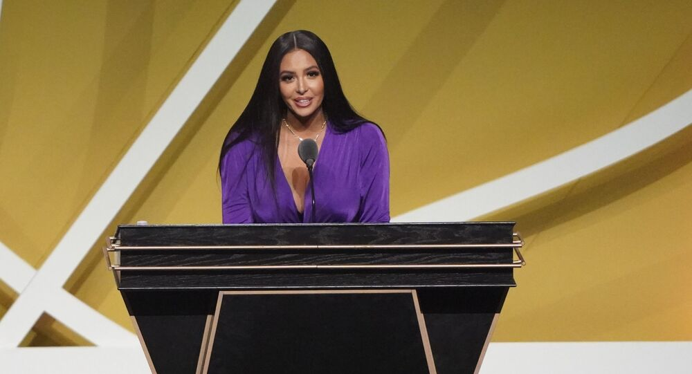 May 15, 2021; Uncasville, Connecticut, USA;  Vanessa Bryant, wife of the late Kobe Bryant, speaks on his behalf during the Class of 2020 Naismith Memorial Basketball Hall of Fame Enshrinement ceremony at Mohegan Sun Arena