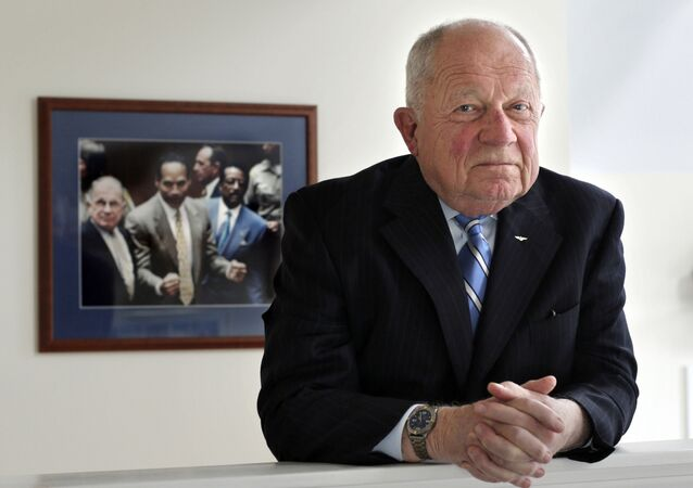 FILE - In this May 22, 2014, file photo, famed defense attorney F. Lee Bailey poses in his office in Yarmouth, Maine. Bailey, the celebrity attorney who defended O.J. Simpson, Patricia Hearst and the alleged Boston Strangler, but whose legal career halted when he was disbarred in two states, has died, a former colleague confirmed Thursday, June 3, 2021. He was 87.