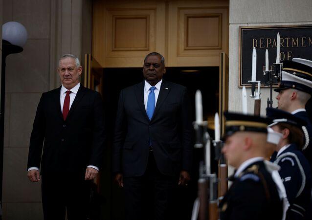 Israel's Defense Minister Benny Gantz and U.S. Defense Secretary Lloyd Austin stand together during an enhanced honor cordon for Gantz at the Pentagon in Arlington, Virginia, U.S., June 3, 2021