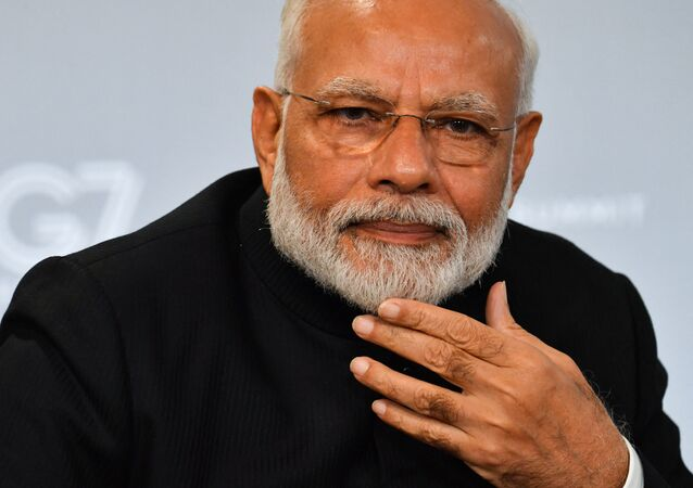 Indian Prime Minister Narendra Modi speaks during a bilateral meeting with US President Donald Trump in Biarritz, south-west France on 26 August 2019, on the third day of the annual G7 Summit.