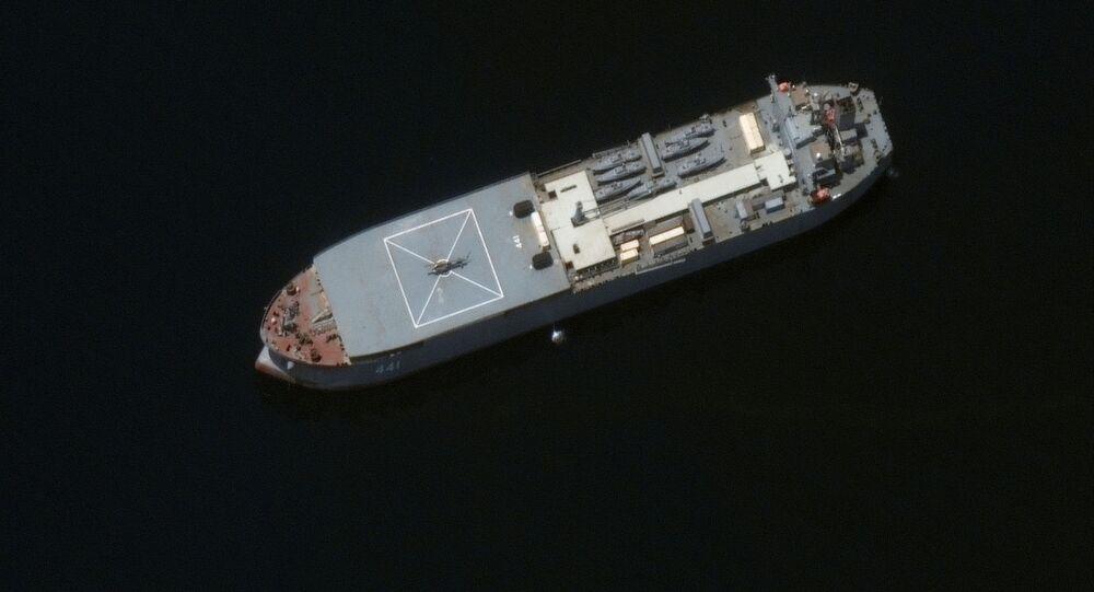 Iranian naval ship, the Makran, is seen near Larak Island, Iran, in this satellite image taken on May 10, 2021